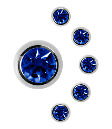 Blue Banana Surgical Steel 6mm Jewelled Ball (Capri Blue)