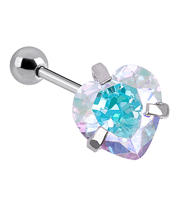 Blue Banana Surgical Steel Heart Jewel 1.2 x 6mm Tragus Bar (Aurora Borealis)