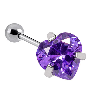 Blue Banana Surgical Steel Heart Jewel 1.2 x 6mm Tragus Bar (Amethyst)