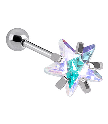 Blue Banana Surgical Steel Star Jewel 1.2 x 6mm Tragus Bar (Aurora Boralis)