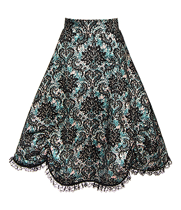 Golden Steampunk Regal Rouched Skirt (Black/Green)