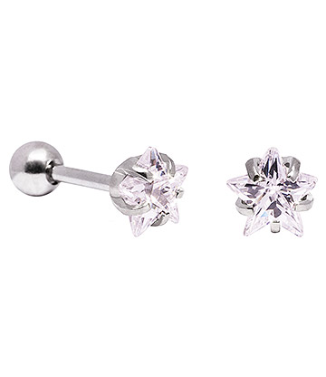 Blue Banana 6mm Cubic Zirconia Star Earrings (Crystal)