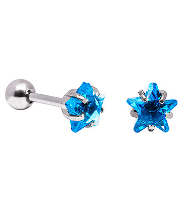 Blue Banana 6mm Cubic Zirconia Star Earrings (Aqua)