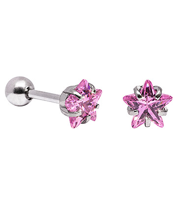 Blue Banana 6mm Cubic Zirconia Star Earrings (Rose)
