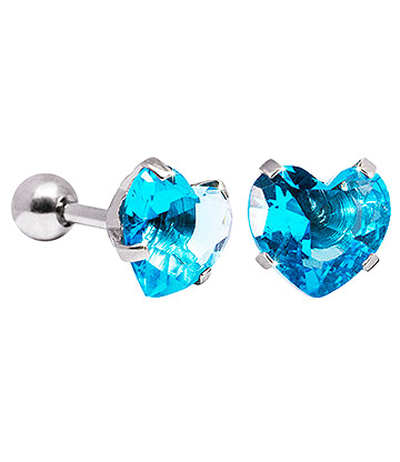 Blue Banana 8mm Cubic Zirconia Heart Earrings (Aqua)
