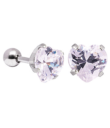 Blue Banana 8mm Cubic Zirconia Heart Earrings (Crystal)