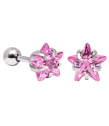 Blue Banana 8mm Cubic Zirconia Star Earrings (Rose)