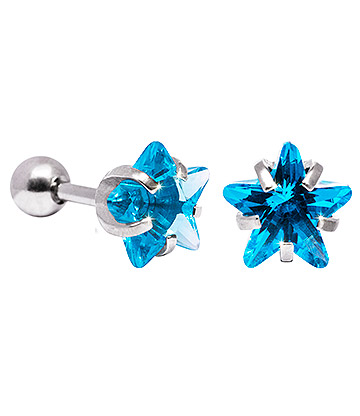Blue Banana 8mm Cubic Zirconia Star Earrings (Aqua)