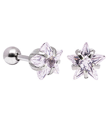 Blue Banana 8mm Cubic Zirconia Star Earrings (Crystal)