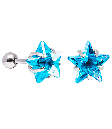 Blue Banana 10mm Cubic Zirconia Star Earrings (Aqua)