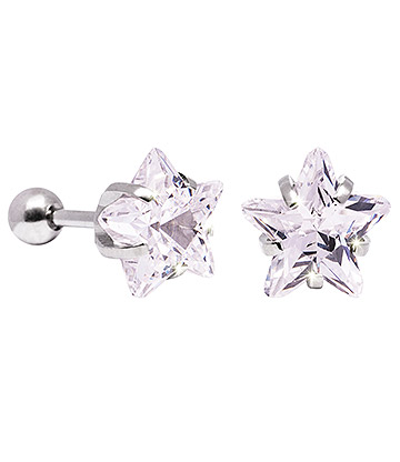 Blue Banana 10mm Cubic Zirconia Star Earrings (Crystal)