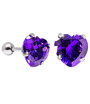Blue Banana 10mm Cubic Zirconia Heart Earrings (Amethyst)