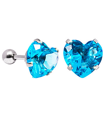 Blue Banana 10mm Cubic Zirconia Heart Earrings (Aqua)