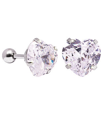 Blue Banana 10mm Cubic Zirconia Heart Earrings (Crystal)