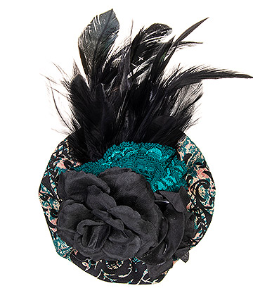 Golden Steampunk Regal Flower Fascinator Hat (Black/Green)