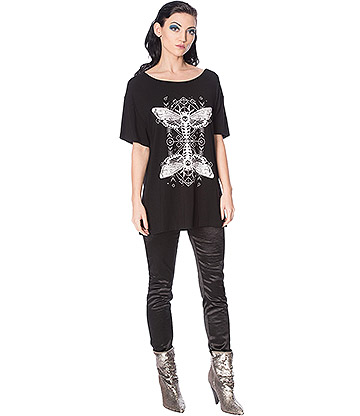 Banned Mystic Moth Top (Black)