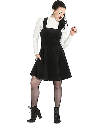Hell Bunny Wonder Years Pinafore Dress (Black)