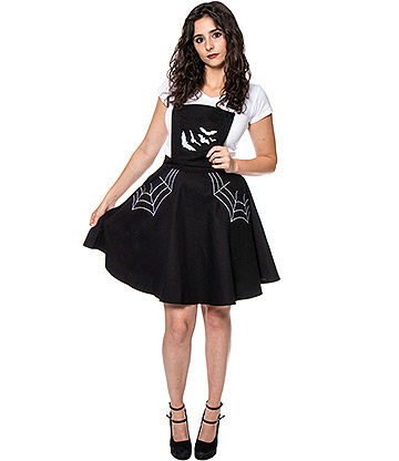 Hell Bunny Miss Muffet Pinafore Dress (Black)