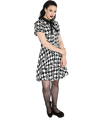 Hell Bunny Hauntley Mini Dress (Black/White)