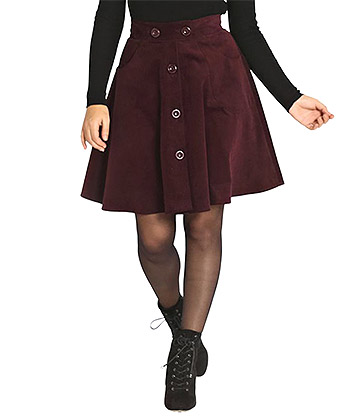 Hell Bunny Wonder Years Mini Skirt (Wine Red)