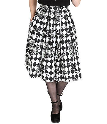 Hell Bunny Hauntley 50s Skirt (Black/White)