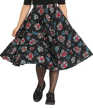 Hell Bunny Poseidon 50s Skirt (Black)