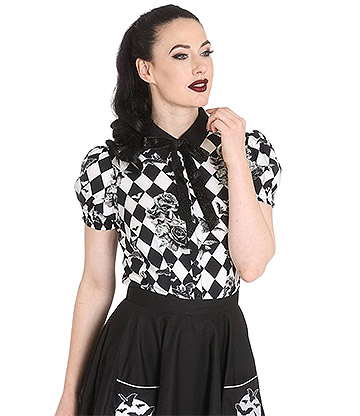 Hell Bunny Hauntley Blouse (Black/White)