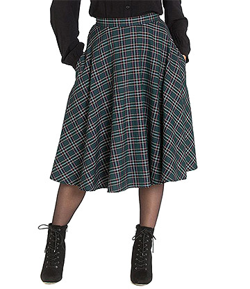 Hell Bunny Peebles 50s Skirt (Green)