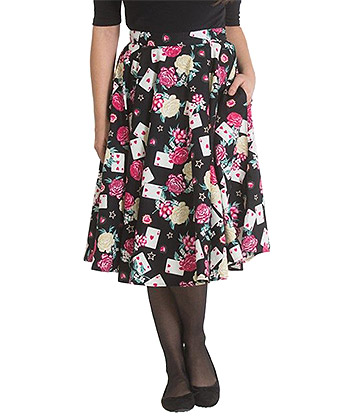 Hell Bunny Falda Vintage Con Estampado Queen Of Hearts - Multicolor