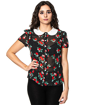 Hell Bunny Apple Blossom Blouse (Black)