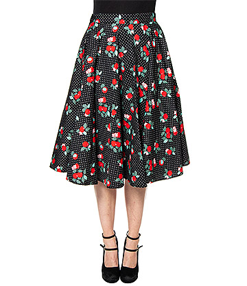 Hell Bunny Apple Blossom 50s Skirt (Black)