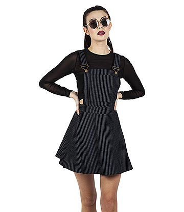 Jawbreaker Over It All Pinstripe Dress (Black)