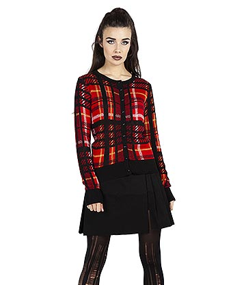 Jawbreaker Don't Cross Me Plaid Cardigan (Red)