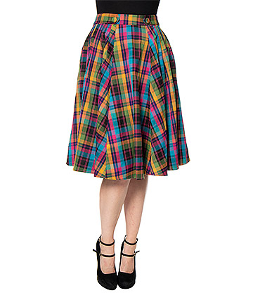 Voodoo Vixen Camilla Pleated Plaid Skirt (Multicoloured)