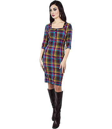 Voodoo Vixen Camilla Plaid Pencil Dress (Multicoloured)