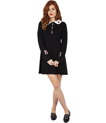 Voodoo Vixen Alicia Lucky Cat Dress (Black)