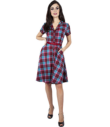Voodoo Vixen Piper Plaid Belted Flare Dress (Multicoloured)