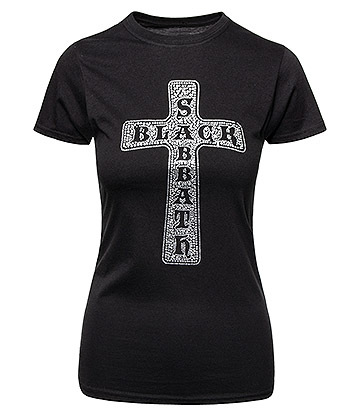 Official Black Sabbath Cross Diamante Skinny T Shirt (Black)
