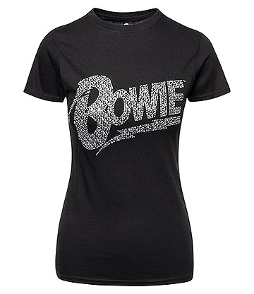 Official Bowie Flash Logo Diamante Skinny T Shirt (Black)