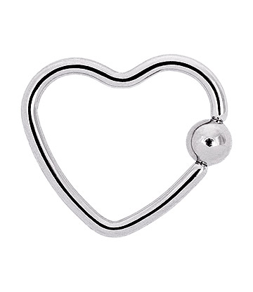 Blue Banana Surgical Steel 1.2mm BCR Daith Heart (Silver)