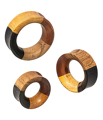 Blue Banana 4 Quarter Wood Flesh Tunnel 28 - 38mm (Brown)