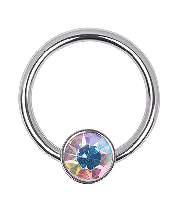 Blue Banana Surgical Steel 1.2mm x 8mm Flat Jewelled BCR (Aurora Borealis)