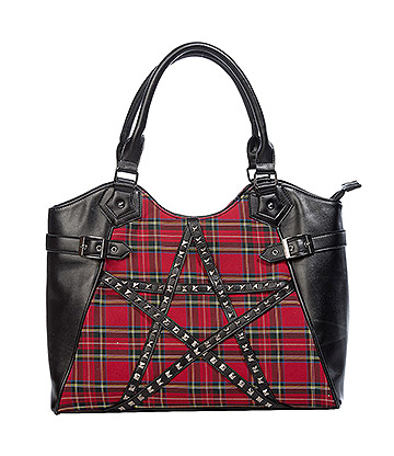 Banned Pentagram Stud Tartan Bag (Red)
