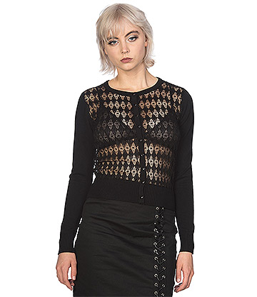 Banned Future Flapper Knit & Lace Cardigan (Black)