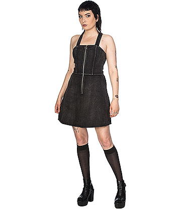 Banned Acid Wash Denim Dress (Black)