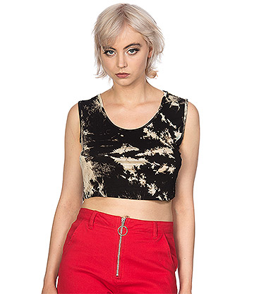 Banned Tie Dye Crop Vest (Black)