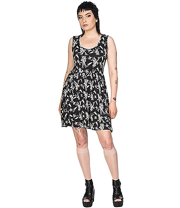 Banned Fit N Flare Cheeky Cat Design Dress (Black)
