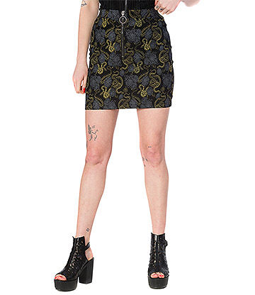 Banned Slither Snake Print Pencil Skirt (Black)