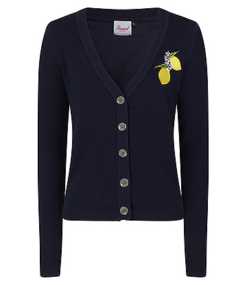 Banned Lemon Embroidered Cardigan (Navy)