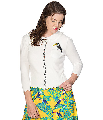 Banned Toucan Cardigan (White)